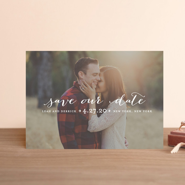 """Meet in the Middle"" - Full-Bleed Photo, Simple Save The Date Postcards in Lily by Lauren Chism."