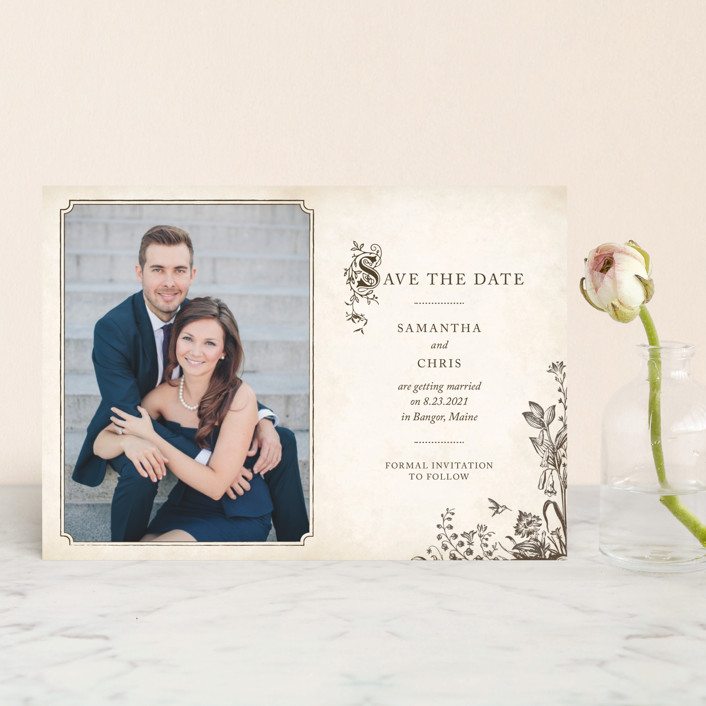 """""""Story Book"""" - Vintage Save The Date Postcards in Winter Cream by Jody Wody."""