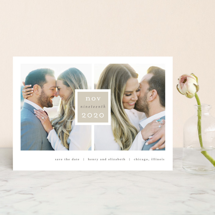 """Frame Up"" - Modern, Simple Save The Date Postcards in Khaki by Stacey Meacham."