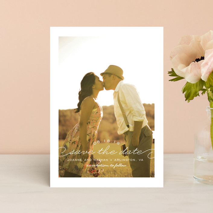 """""""Simply Timeless"""" - Full-Bleed Photo Save The Date Postcards in White by Sandra Picco Design."""