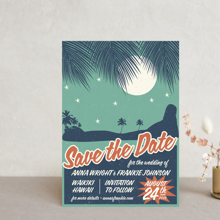 """""""Retro Hawaii"""" - Vintage, Destination Save The Date Postcards in Teal by Coco and Ellie Design."""