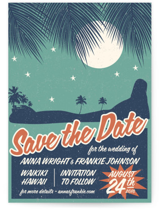 Retro Hawaii Save the Date Postcards