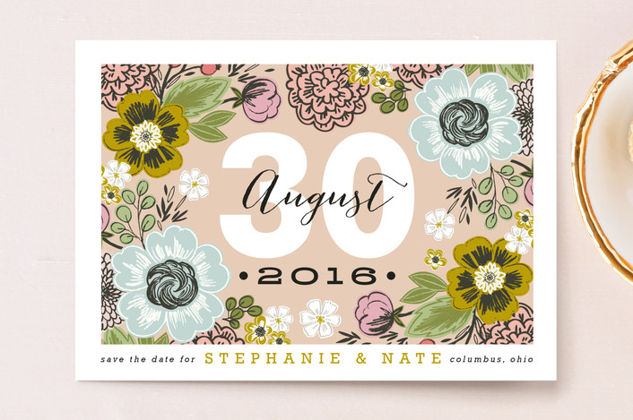 """""""Cottage Garden"""" - Whimsical & Funny, Floral & Botanical Save The Date Postcards in Petal by Alethea and Ruth."""