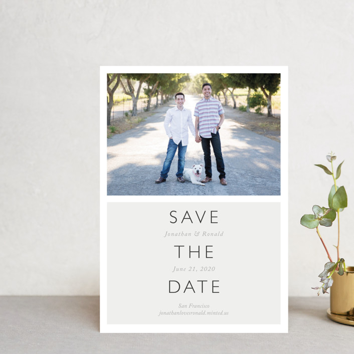 """""""Modern Date"""" - Modern Save The Date Postcards in Storm by Waldo Press."""