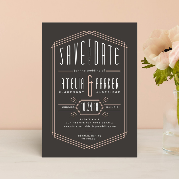 """Luxe Deco"" - Vintage Save The Date Postcards in Peach by Sarah Brown."