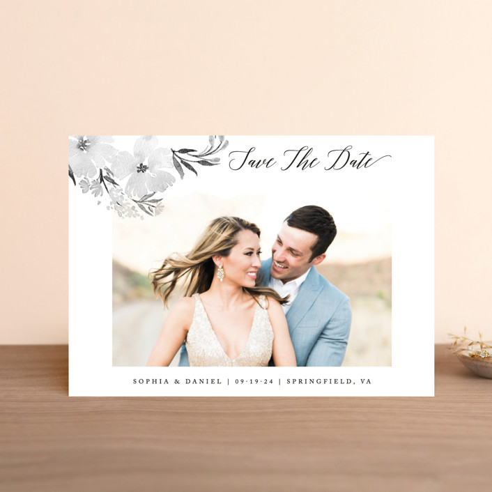 """""""beautifully painted"""" - Save The Date Postcards in Blush by Qing Ji."""