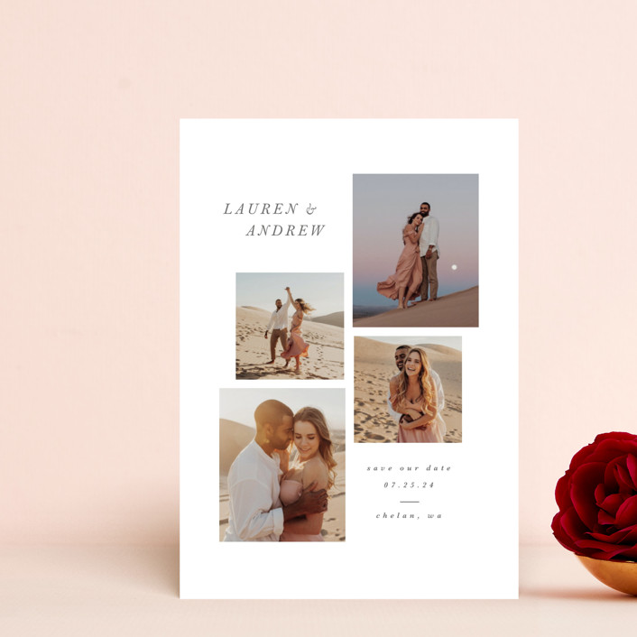 """""""Beautiful Love"""" - Save The Date Postcards in Pearl by Angela Garrick."""