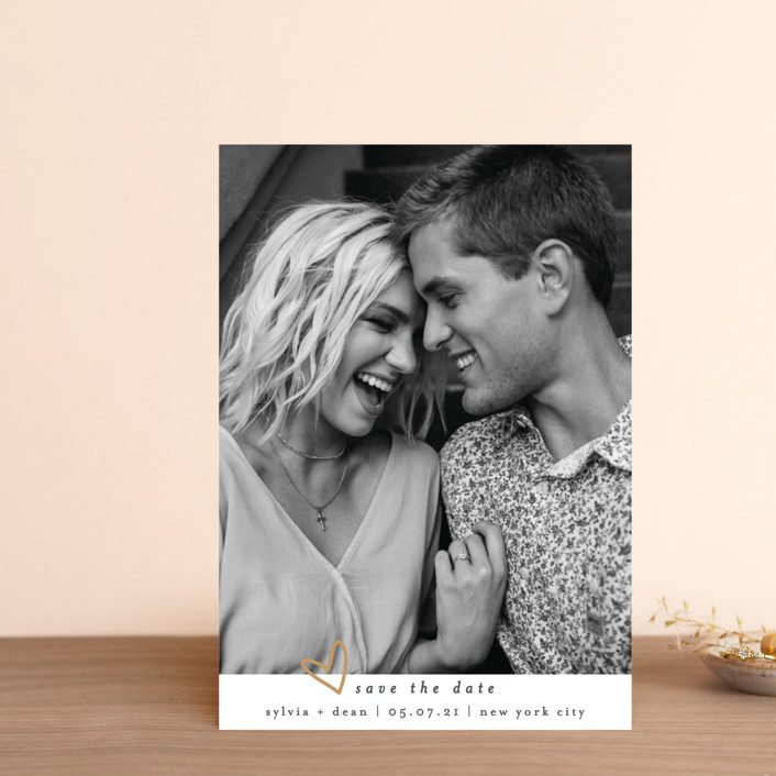 """""""Oh My Heart"""" - Save The Date Postcards in Goldenrod by Bethan."""