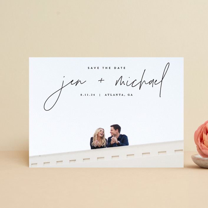 """""""Penned"""" - Save The Date Postcards in Noir by JoAnn Jinks."""