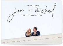 This is a black save the date postcard by JoAnn Jinks called Penned with standard printing on signature in postcard.