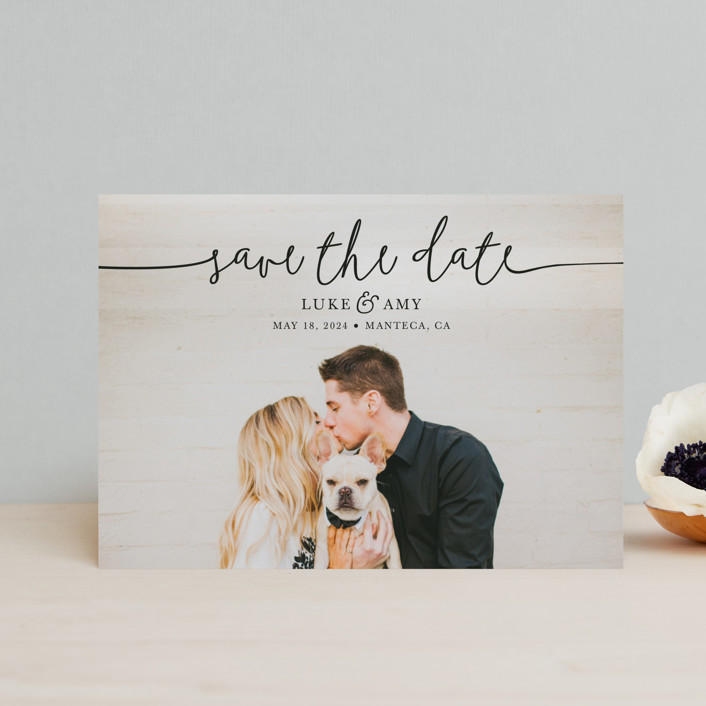 """Pretty Love"" - Save The Date Postcards in Onyx by Christine Taylor."