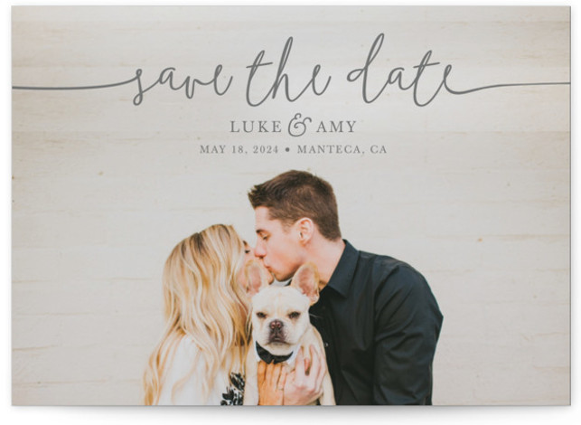 This is a landscape, portrait, square orientation classic and formal, grey Save the Dates by Christine Taylor called Pretty Love with Standard printing on Signature in Postcard Flat Card format. Announce your upcoming marriage with this classic, typographic, one photo ...