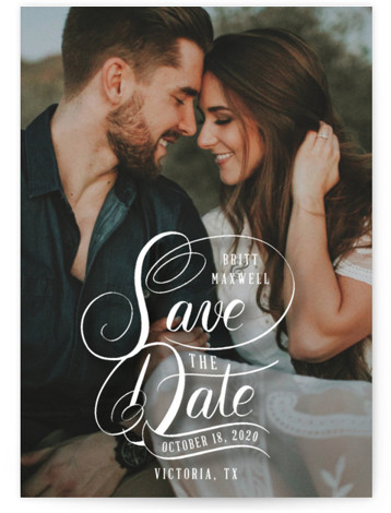 This is a landscape, portrait classic and formal, hand drawn, white Save the Dates by Becky Nimoy called Stacked Script Save the Date with Standard printing on Signature in Postcard Flat Card format. Stacked hand lettered save the date over ...