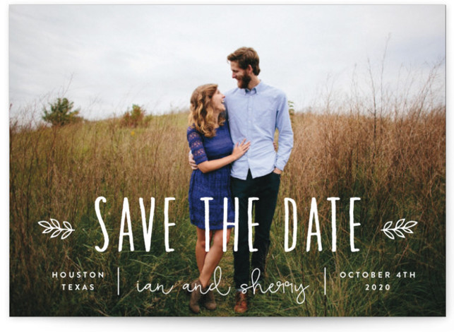This is a landscape bohemian, white Save the Dates by Sara Hicks Malone called Homegrown with Standard printing on Signature in Postcard Flat Card format. Rustic + charming