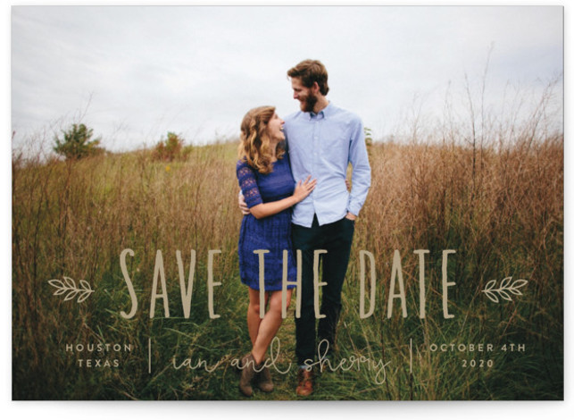 This is a landscape bohemian, brown Save the Dates by Sara Hicks Malone called Homegrown with Standard printing on Signature in Postcard Flat Card format. Rustic + charming