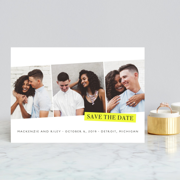 """""""Sealed"""" - Modern Save The Date Postcards in Black and Yellow by Snow and Ivy."""