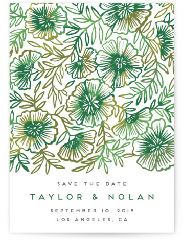 This is a portrait, square orientation botanical, green Save the Dates by Katharine Watson called Floral Vines with Standard printing on Signature in Postcard Flat Card format. This design uses a hand painted floral design to create a bold, eye ...