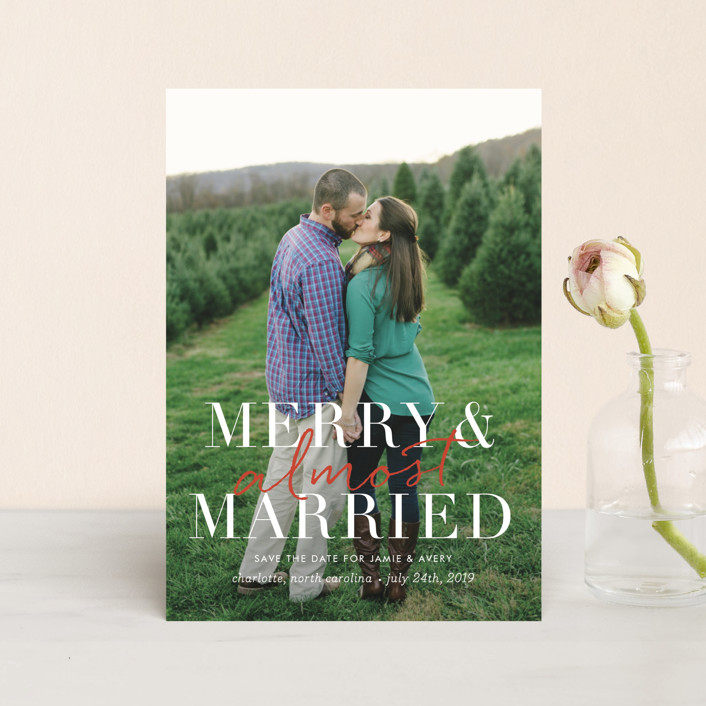 """""""merry and almost married"""" - Modern Save The Date Postcards in Snow by Sara Hicks Malone."""
