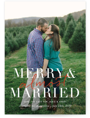 photo of Merry And Almost Married Save The Date Postcards