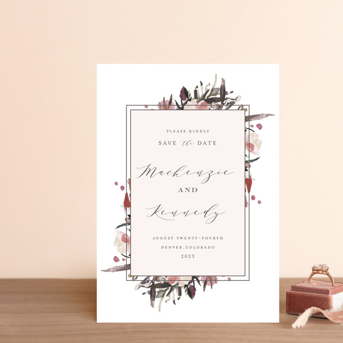 """Moody Blooms"" - Save The Date Postcards in Fall Blooms by Grace Kreinbrink."