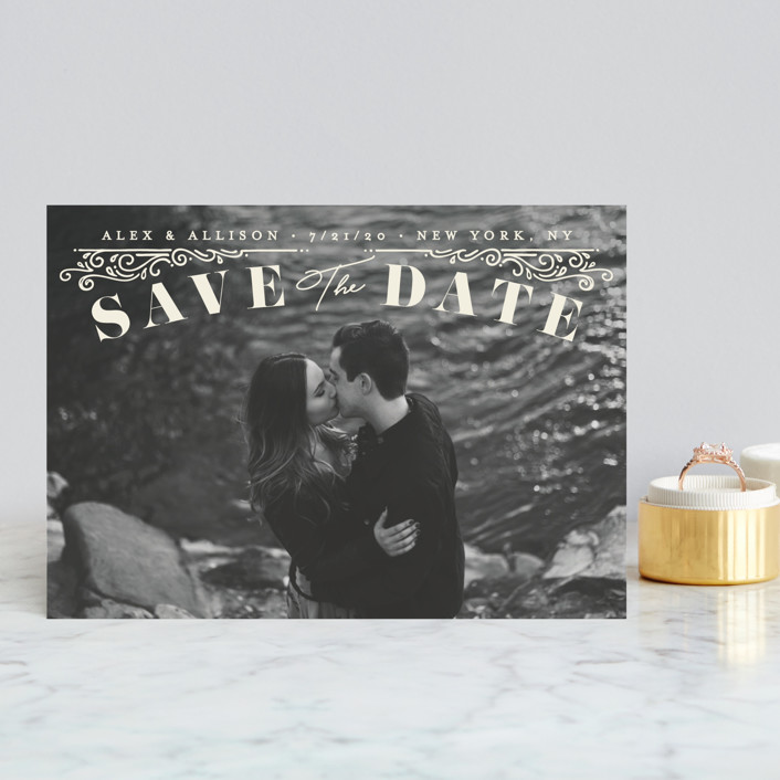 """""""Ornately"""" - Save The Date Postcards in Cream by GeekInk Design."""