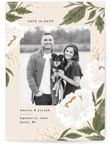 This is a portrait botanical, floral, watercolor, beige, green Save the Dates by Alethea and Ruth called Peony Florals with Standard printing on Signature in Postcard Flat Card format. This save the date features soft peony florals framing the photo. ...