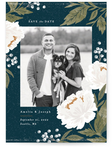 This is a portrait botanical, floral, watercolor, blue, green Save the Dates by Alethea and Ruth called Peony Florals with Standard printing on Signature in Postcard Flat Card format. This save the date features soft peony florals framing the photo. ...