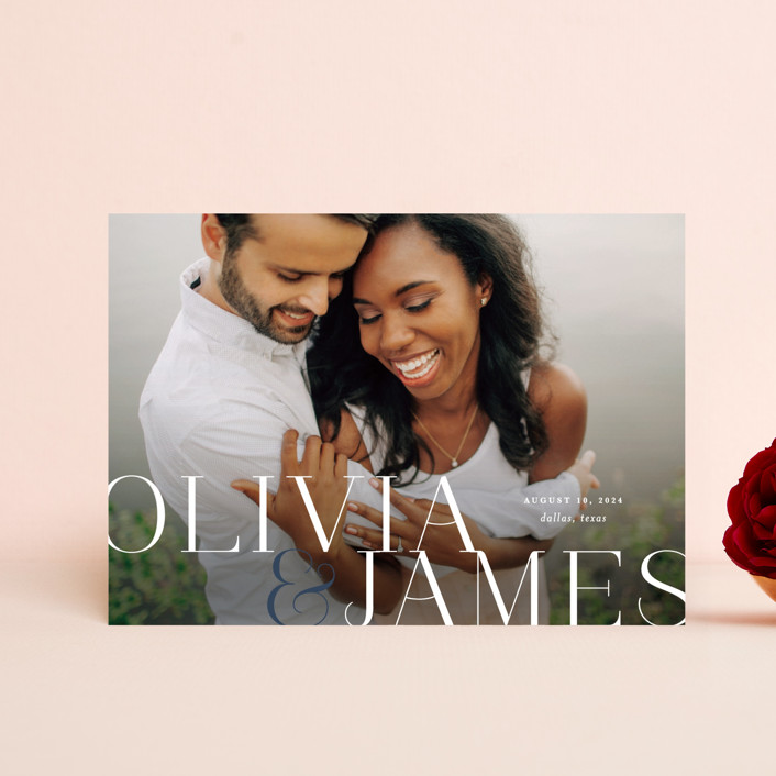 """This Couple"" - Save The Date Postcards in Pearl by Lauren Chism."