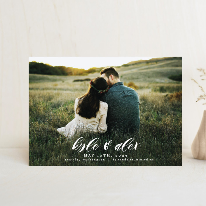 """Harmony"" - Save The Date Postcards in Cream by AK Graphics."