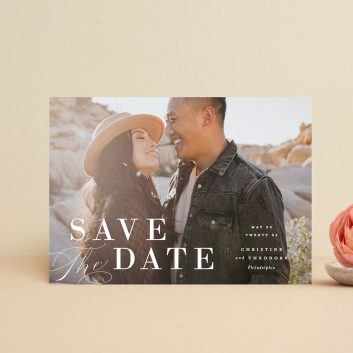 """""""Composition"""" - Save The Date Postcards in Cloud by Ashley Rosenbaum."""