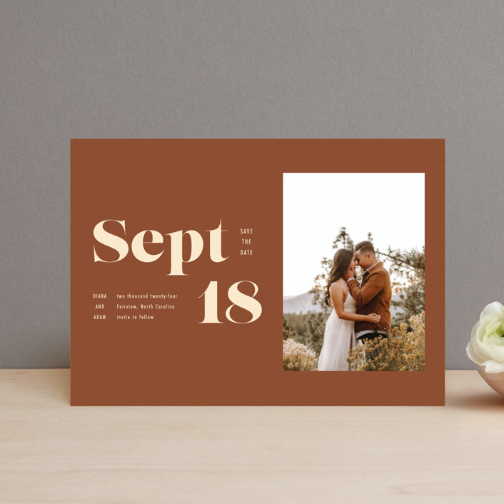 """""""Bold Print"""" - Save The Date Postcards in Rust by April Astudillo."""