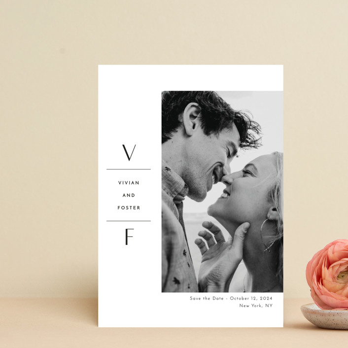 """""""Initial Attraction"""" - Save The Date Postcards in Ebony by Kaydi Bishop."""