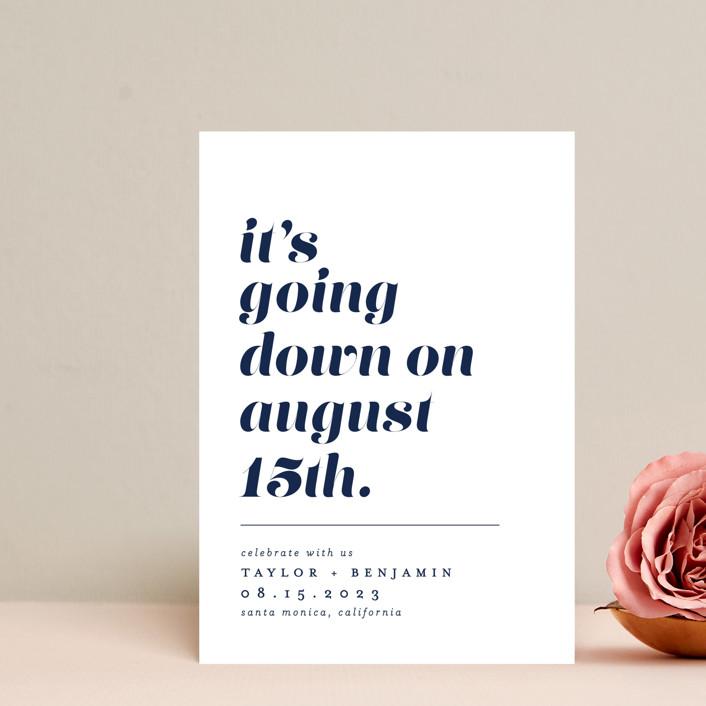 """Party Down"" - Save The Date Postcards in Ecru by Erica Krystek."