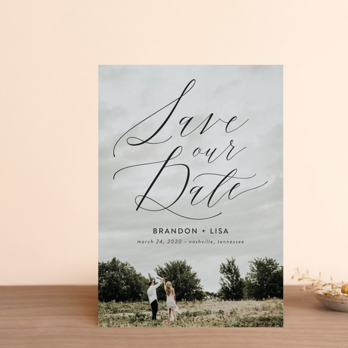 """""""Flowing Love"""" - Save The Date Postcards in Jet Black by Erika Firm."""