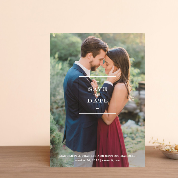 """""""Simple Square"""" - Save The Date Postcards in Snow by Amy Kross."""