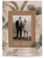 This is a brown save the date postcard by Elly called Tropical Rattan with standard printing on signature in postcard.