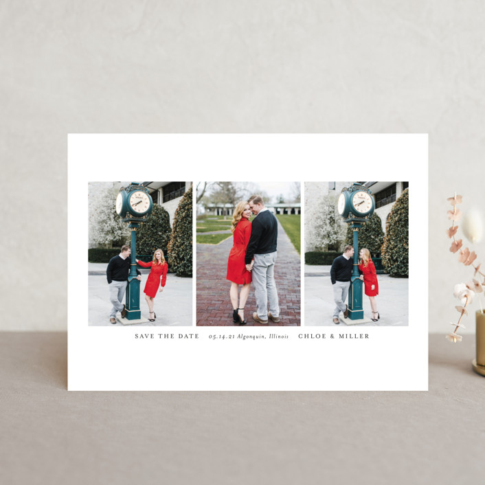 """Triptych"" - Classical, Minimalist Save The Date Postcards in Linen by Erin Deegan."