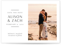 This is a white save the date postcard by Jessica Williams called Elegant Space with standard printing on signature in postcard.