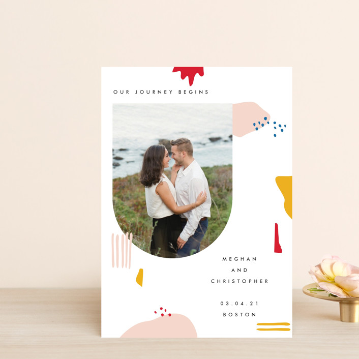 """Emilie"" - Modern Save The Date Postcards in Blush by Karen Schipper."