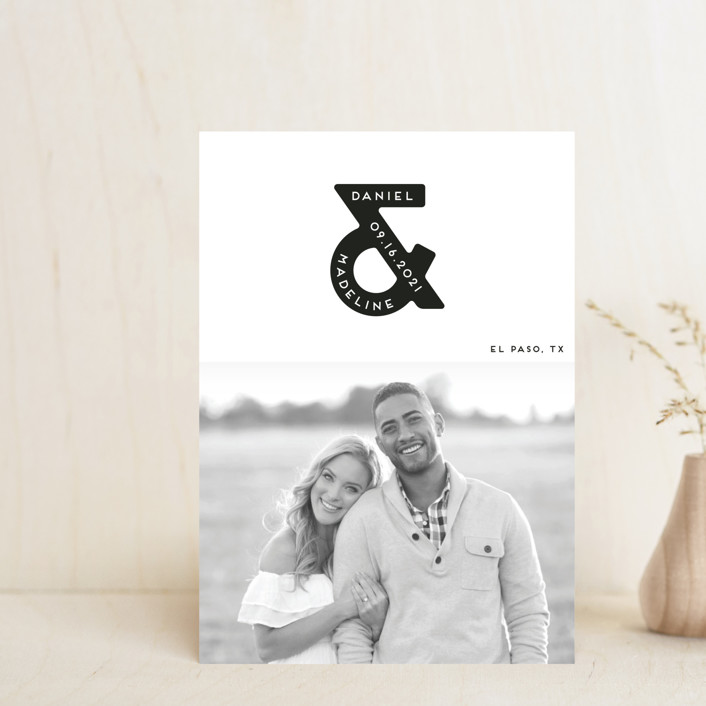 """""""Ampersand us"""" - Bold typographic, Minimalist Save The Date Postcards in Fog by Gwen Bedat."""