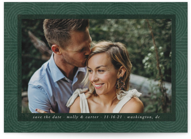 This is a bohemian, simple, vintage, green Save the Dates by Ella Weaver called Circles on Circles with Standard printing on Signature in Postcard Flat Card format. This photo save the date features a subtle pattern that brings a modern ...