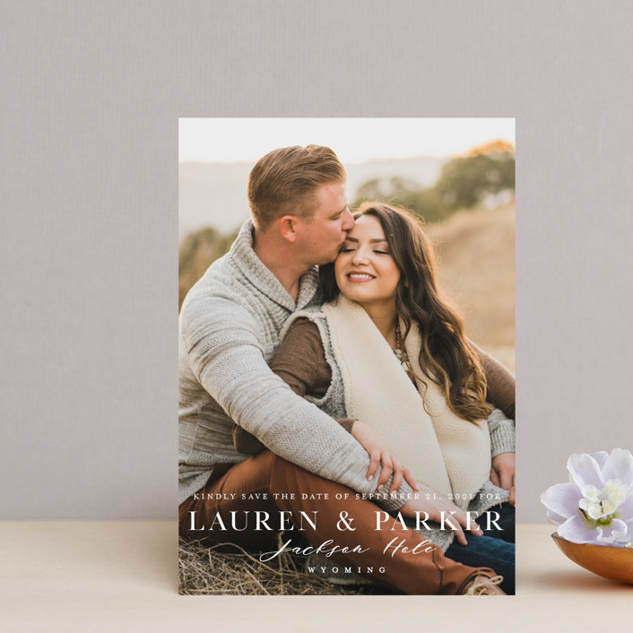 """Classic Touch"" - Save The Date Postcards in Pearl by Oscar & Emma."
