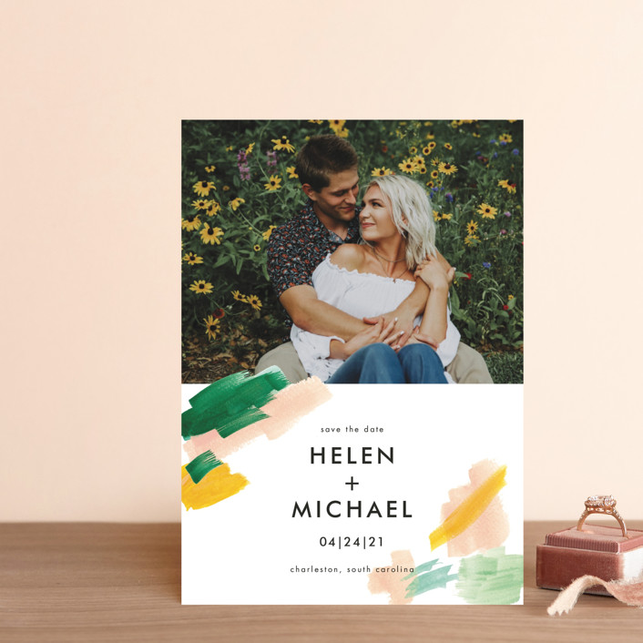 """""""Hamptons"""" - Save The Date Postcards in Melon by Erika Firm."""