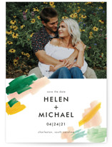This is a colorful save the date postcard by Erika Firm called Hamptons with standard printing on signature in postcard.