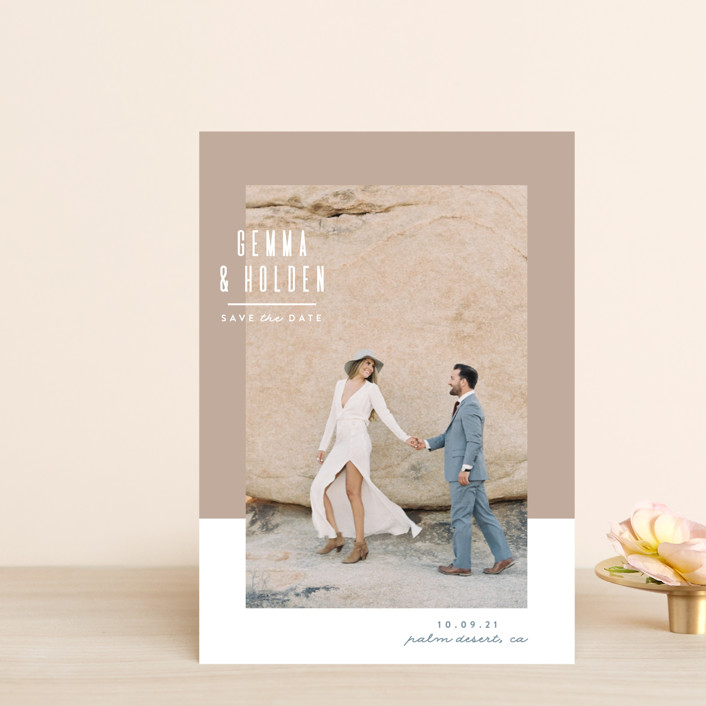 """Block Party"" - Save The Date Postcards in Sand by Owl and Toad."