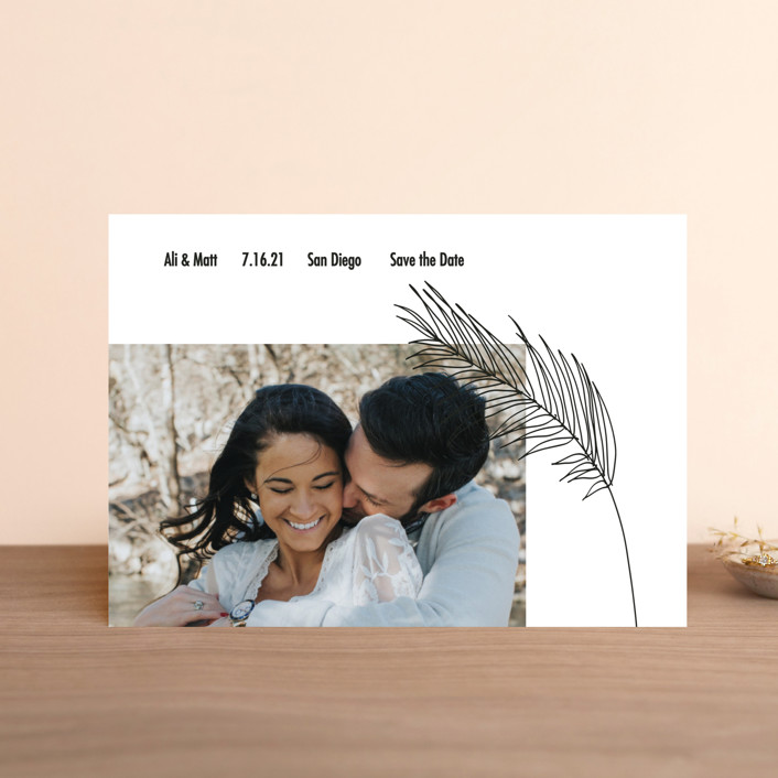 """Palm"" - Save The Date Postcards in Night by Elsa Duncan."