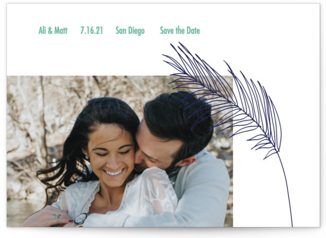 This is a beach, botanical, floral, blue, green Save the Dates by Elsa Duncan called Palm with Standard printing on Signature in Postcard Flat Card format. This minimal save the date features a single palm frond illustration and one photo ...