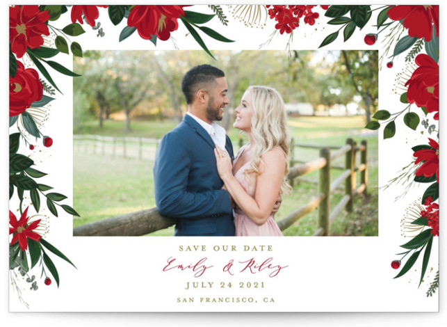 This is a botanical, floral, red Save the Dates by Susan Moyal called Floral Canopy with Standard printing on Signature in Postcard Flat Card format. Flowers and greenery surround the photo