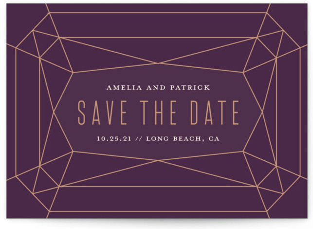 This is a landscape modern, purple Save the Dates by Rebecca Bowen called Geode with Standard printing on Signature in Postcard Flat Card format. Geometric gemstone