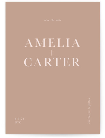 This is a simple and minimalist, brown Save the Dates by Mere Paper called Booked with Standard printing on Signature in Postcard Flat Card format. A current take on classic typography.